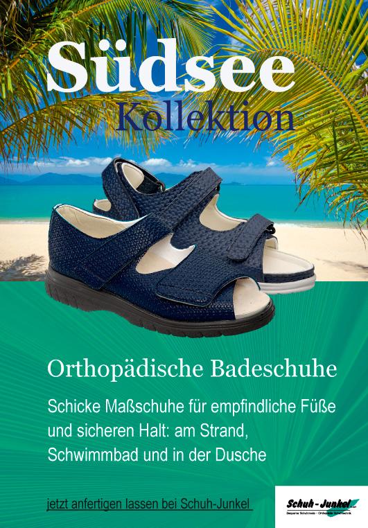 Poster mit Palmen im Hintergrund und davor die Badeschuh Kollektion Südsee - Maßschuhe